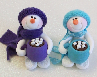 Love my hot chocolate Snowman ornament: snowman with hot cocoa mug purple or blue