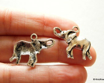 5 x Elephant Silver Tone Charms