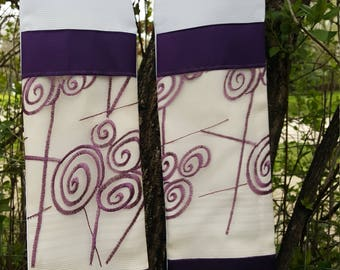 white clergy stole, upcycled fabric, abstract purple design for priests, ministers, pastors for lent, wedding, communion, baptism