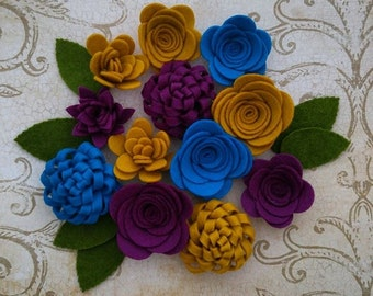 Handmade Wool Felt Flowers, Mustard, Azure, and Dark Berry