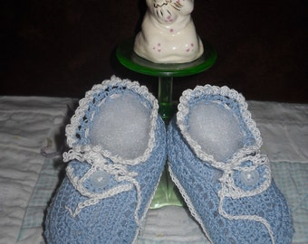 Button Top Flap Accent Hand Crocheted Booties Made from Cotton Thread Baby Gift