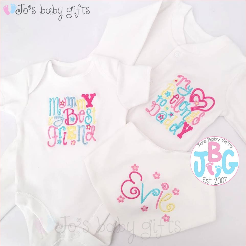 Personalised Baby Girls Clothes Set Embroidered Bib Vest And
