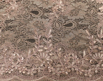 Mia DUSTY PINK Floral Sequined Corded Vine Embroidered Scalloped Edge Lace Fabric by the Yard - SKU 1008