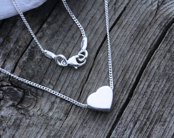 Sterling silver Heart Necklace on Sterling Silver  Chain- Everyday wear. Simple dainty Jewelry - Puffy Sterling Silver Heart Necklace
