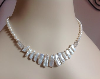 Freshwater Stick Pearl Necklace White Pearl and Crystal Necklace Wedding Bridal Pearl Necklace Sterling Silver