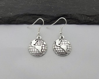 Globe Earrings, Earth Earrings, World Earrings, Travel Earrings, Charm Earrings, Travel Gift, Travel Jewelry, Globe Jewellery, Travel Gifts