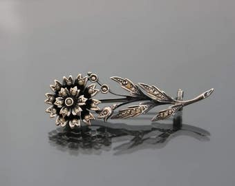 Antique Victorian Silver 900 Brooch. Seed Pearl Flower Vintage Pin. Antique Wedding, Bridal Jewelry