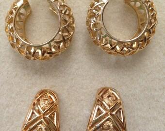 Vintage Monet Goldtone Earrings and Vintage Goldtone Hoop Style Earrings