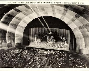 c.1930 Radio City Music Hall, New York City, RPPC No. 214; World's Largest Theatre; Real Photo Postcard; Mint Condition.