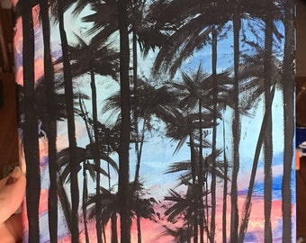 Palm trees at Sunset 8 x 10 canvas painting