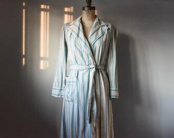 Vintage Bathrobe, Striped Bathrobe, Women's Bathrobe, Cotton Robe, 1950's Robe, Vintage Summer Robe