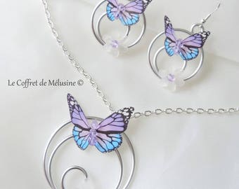 "Purple and light blue butterfly ""Emya"" earrings and necklace"
