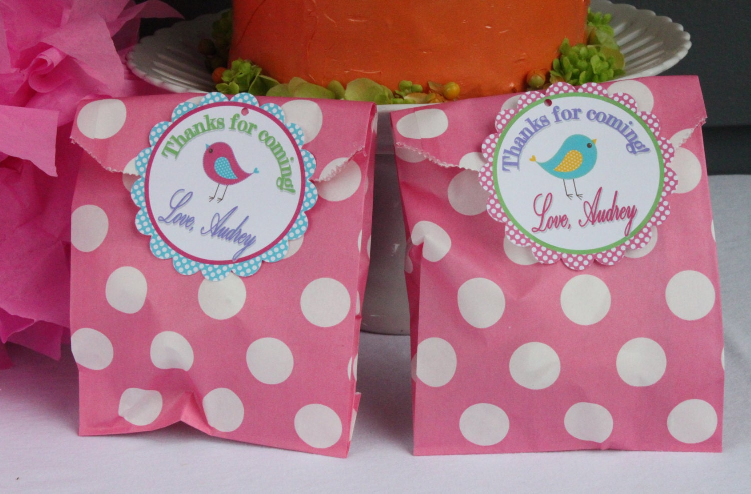 A LITTLE BIRDIE Birthday Party Favor Tags or Stickers One