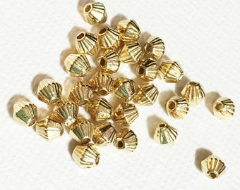 Bulk 500 pcs of gold plated bicone spacer beads 4x3.5mm,  metal spacer beads