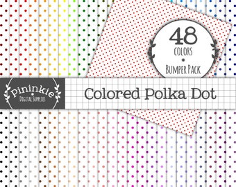 48 Colored Polka Dot Digital Papers, Instant Download, Commercial Use (CU), Digital Paper Polka Dot