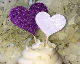 120 Purple Cupcake Toppers Large & Small Sparkling HEARTS Wedding Cake Decorations