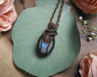 Moonstone   Wire Wrapped   Pendant   Copper   Weaved