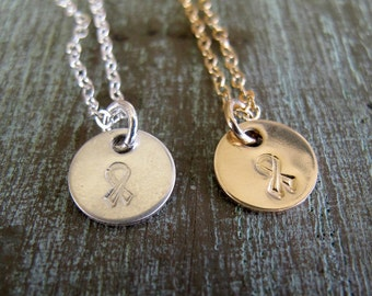 FREE SHIPPING, Breast Cancer Necklace, Awareness Jewelry, Hand Stamped, Sterling Silver or Gold, Inspirational Jewelry