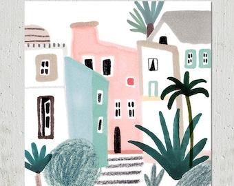 Houses  Giclée Fine Art Print Illustration - Print SALE - Buy 2 Get 1 Free