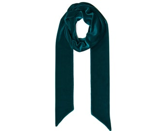 Velvet long skinny (thin) green scarf FREE SHIPPING WORLDWIDE