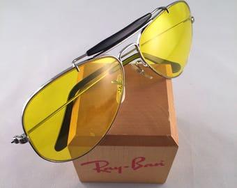 Vintage Ray Ban Bausch and Lomb USA Gunmetal Black Yellow Kalichrome 58mm