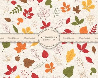 Professional Autumn Leaves Clipart - 141 pieces included! Autumn Leaves Vectors, Fall Leaf Vectors, Leaf Clip Art, Autumn Clip Art