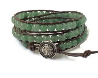 Green Aventurine Bracelet - Green Aventurine Wrap Bracelet - Naturalist Wrap Bracelet - Wrap Bracelet for Women