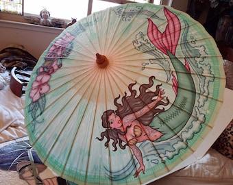 Mermaid paper parasol /umbrella