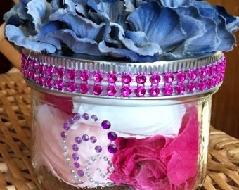 Fabric Floral Topped Soap Petal or Guest Soap Jars