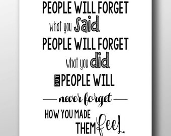 Maya Angelou Quote, People Will Forget What You Said, Black Background, White Background, Printable Quote, Wall Decor