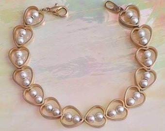 Romantic Open HEARTS With PEARLS Gold BRACELET