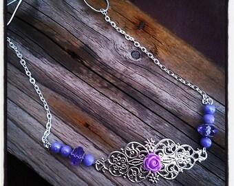 HeadBand jewelry head vintage silver filigree and purple beads