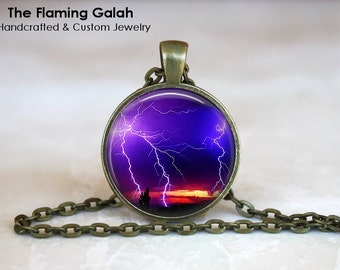 PURPLE LIGHTENING STRIKE Pendant • Lightening Bolt • Purple Sky • Gift Under 20 • Made in Australia (P0260)