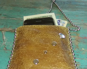 Handmade mini leather purse with ball chain border and interior pocket