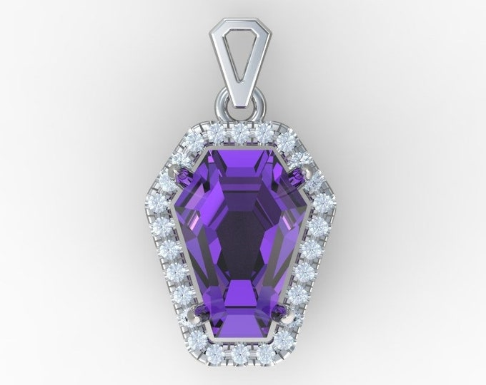 Coffin Gem - 5ct  Halo Pendant