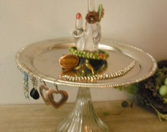 upcycled Jewelry pedestal Tray with vintage Lucite Don't Forget hand .. Silver tray ..