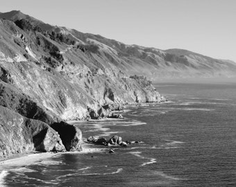 Journey Along the Rugged Big Sur Coast, California - Black & White Photo Poster Wall Art Image - 8x10 or 16x20