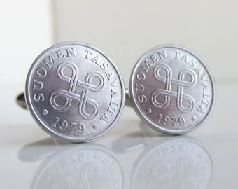 FINLAND Coin Cuff Links - Repurposed Silver Tone Coins
