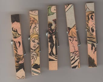 Set of 5 hand decorated clothes pins, chip bag clips. Decorated with scenes from vintage comic books.
