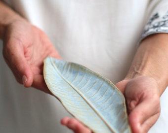 Leaf Shaped Dish, Ring Dish, Leaf Plate Ceramic, Ceramic Leaf Dish, Light Blue Ceramic Leaf, Trinket Dish, Ring Holder, Ceramic Ring Dish