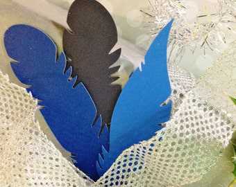 Christmas Gift Tags- Blue Paper Feathers Set of 20, Feather Gift Topper, Christmas Gift Wrap, Holiday Gift Wrap, Paper Feathers