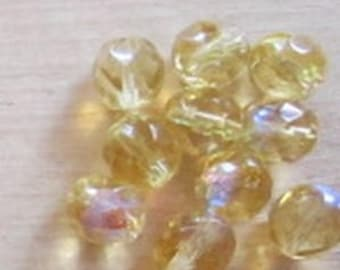 10 faceted light topaz ab 8mm