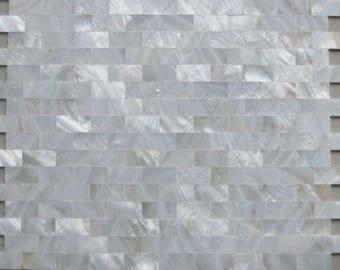 White Mother of Pearl Tiles Backsplash Uniform Bricks Subway Seamless Freshwater Shell Kitchen Wall Tile Mosaics