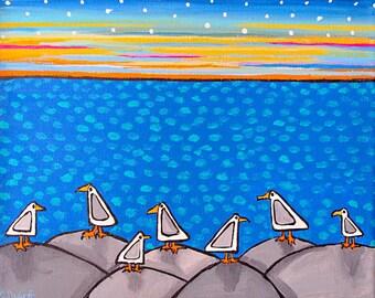 Seagulls, Nova Scotia Folk Art Print Shelagh Duffett