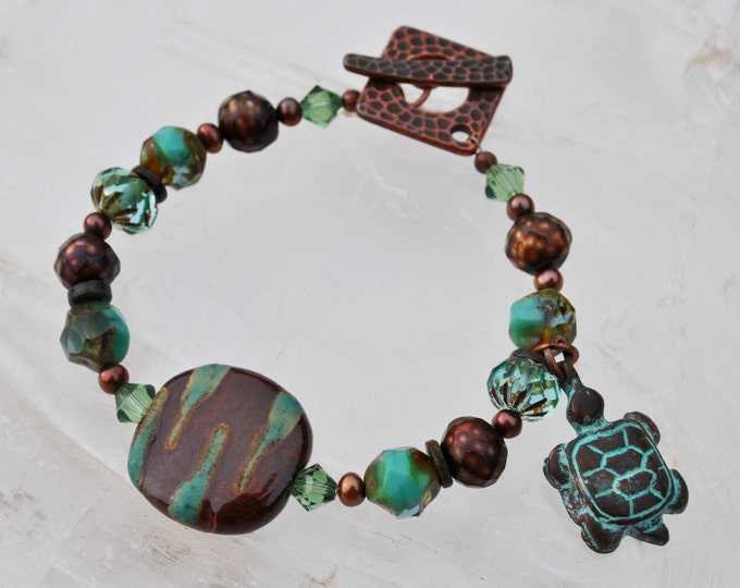 Turquoise and Brown African Kazuri Ceramic turtle bracelet set with Swarovski crystals and copper