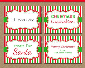Printable Christmas Dinner Place Cards Digital Instant Editable Xmas Placecards Party Setting Food