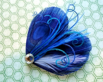 OLIVIA in Royal Blue and Turquoise Peacock Feather Hair Clip, Feather Fascinator