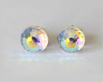 Titanium earrings, 8mm AB Clear Swarovski crystal ball studs,Hypoallergenic, Rainbow Crystal ball earrings, sensitive ears