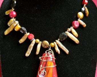 Bright Red - make statement necklace