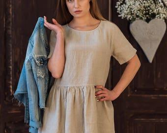 Linen Dress for Women natural ruffled short sleeves pockets-Linen clothing-Linen Summer Dress loose fit-Linen Tunic Dress-eco linen dress